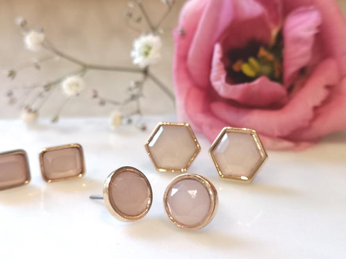 Blush pink hexagon earrings