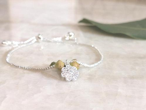 Silver CZ flower bracelet BC21S