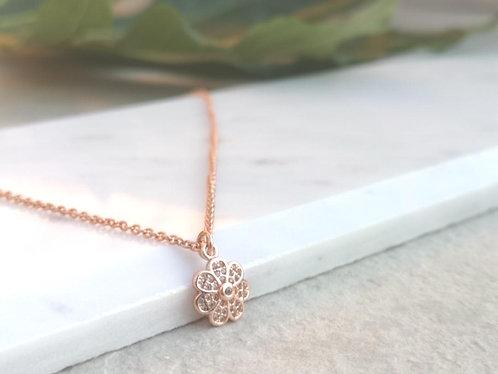 CZ Rose gold flower necklace