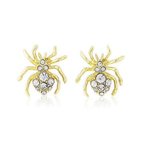 Gold Crystal Spider Earrings HA02G