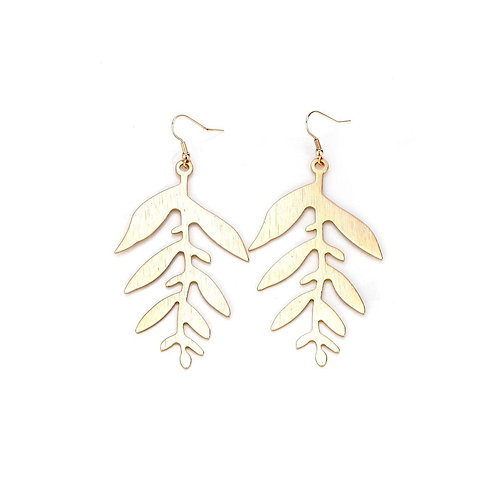 Brushed Gold Leaf Statement earrings