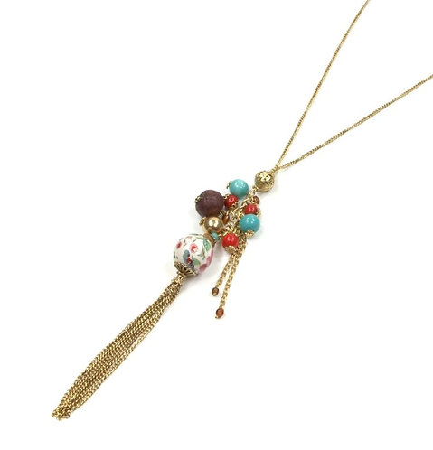 Floral beaded long necklace