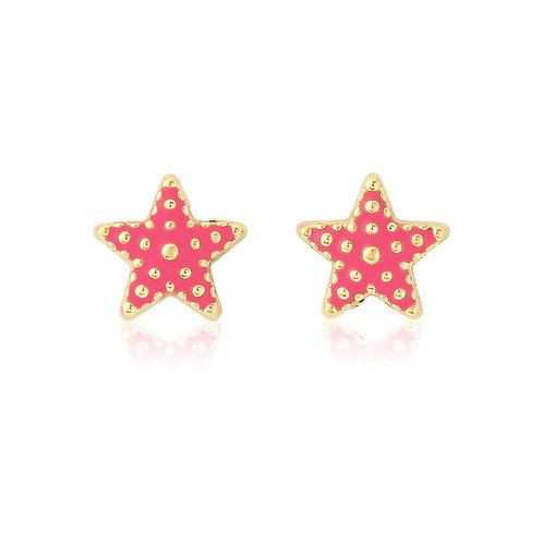 Pink star fish earrings