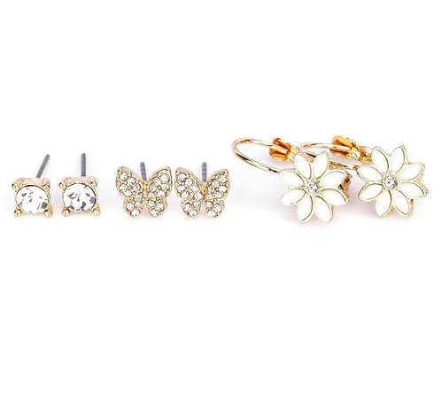 Butterfly and flower earring set