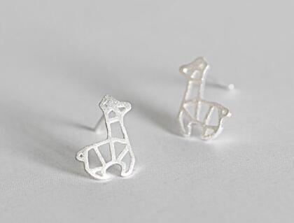 Silver Geometric Giraffe Earrings EL29