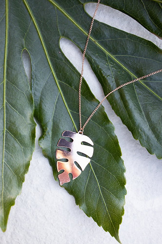 Rose gold palm leaf necklace
