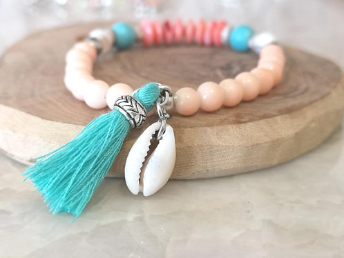 Turquoise tassel and shell bracelet BD33