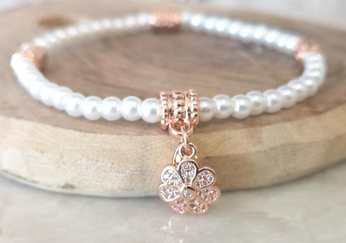 CZ Rose gold flower pearl bracelet BC04P
