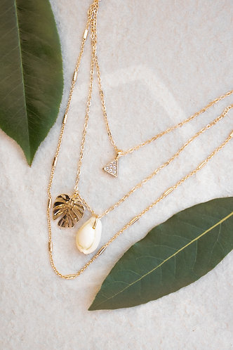 Monstera layered necklace N010