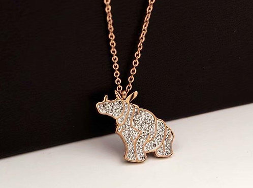 Rose Gold Rhino Necklace N062