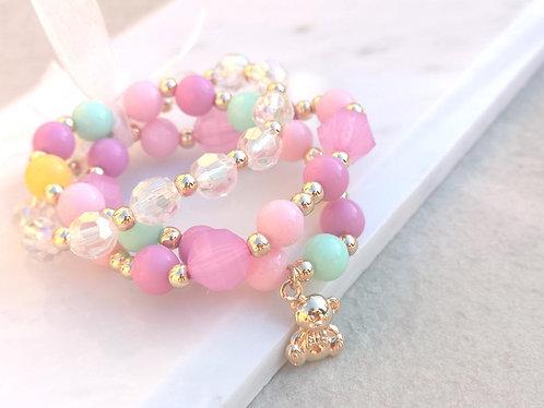 Girls Teddy Bear bracelet set