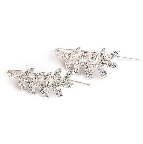 Diamante leaf earrings