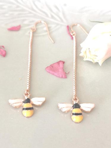 Silver Long Bee Earrings