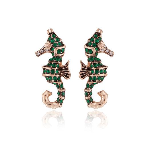 Emerald green sea horse earrings EL19