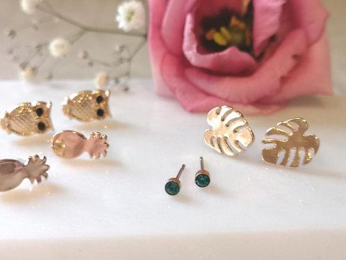 Pineapple, forest leaf,owl earrings set EL16