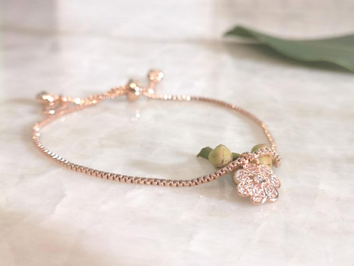 Rose Gold CZ flower bracelet BC21R