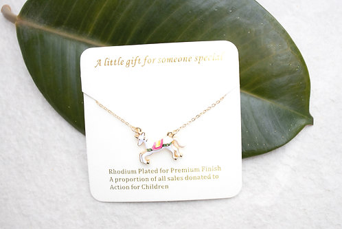 Rocking horse unicorn necklace NC10