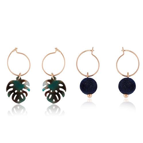 Monstera Leaf tropical earring set EL13