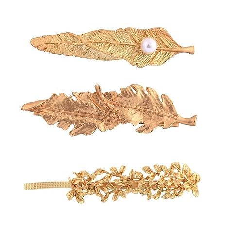 Gold leaf Hair clip set