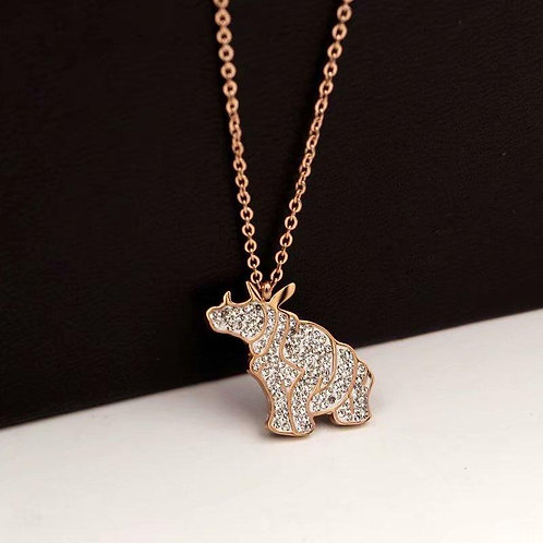 100% donated Rose Gold Rhino Necklace