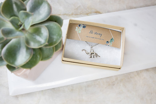Bee Strong Dinosaur necklace Min Order 3 RRP £8.99 Recycled and Recylable box