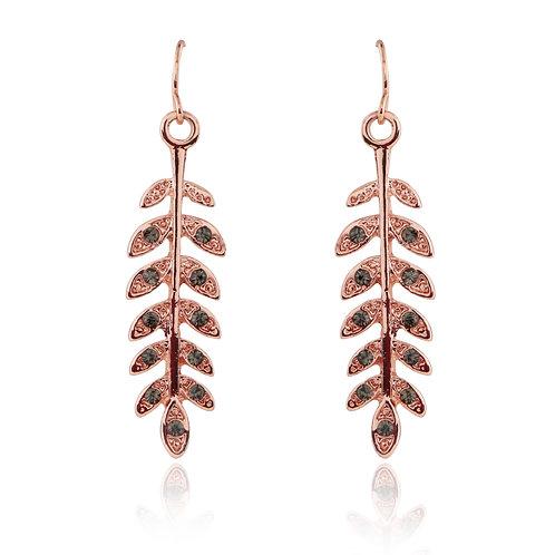 Rose Gold Long Leaf earrings EL01