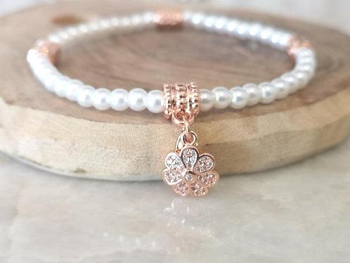 CZ Rose gold flower pearl bracelet BC04r