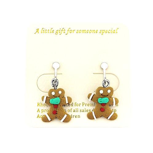Ginger bread clip on earrings