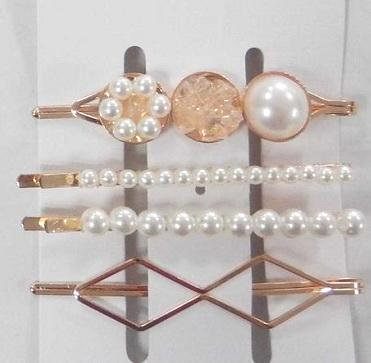 Pearl and rose gold diamond hair clip