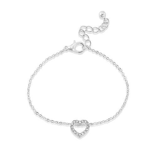 Open heart diamante bracelet