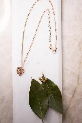 Rose Gold Leaf encrusted necklace N008