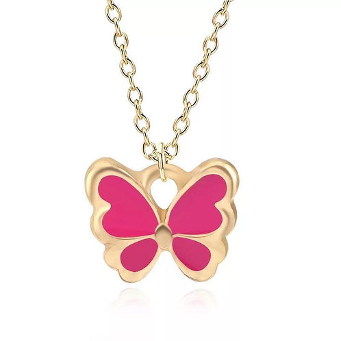 Gold butterfly necklace.
