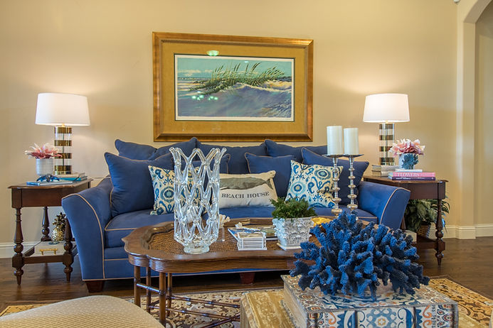 Livingroom, seaside inspired, with blue colors