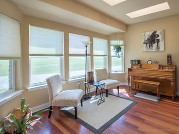 Living space featuring a piano and a piano painting