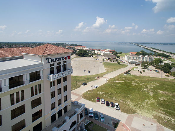 Drone photo of TrendHR Building, overlooking lake Ray Hubbard in Rockwall