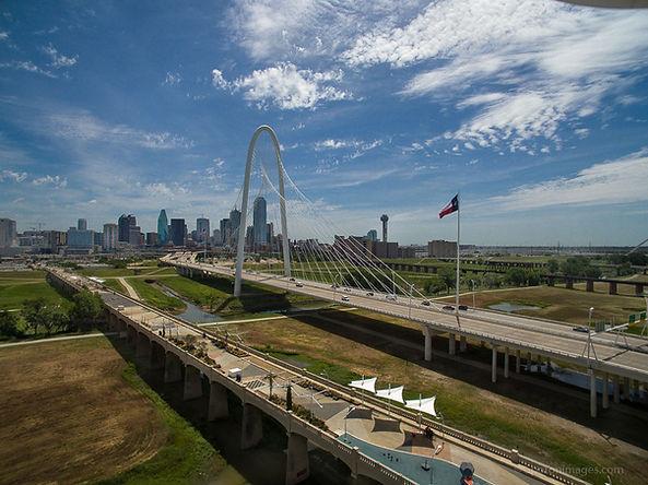 Drone photo of Margaret Hunt Hill Bridge in Dallas, Texas
