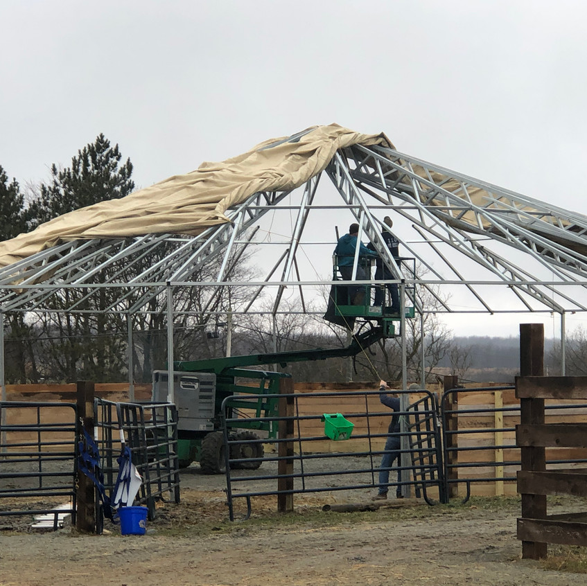 round pen installing roof