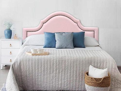 Cabeceira Estofada Provençal Luxo com Tachas - Courino Rosa