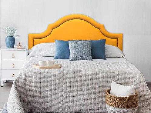 Cabeceira Estofada Provençal Luxo com Tachas - Suede Amarelo