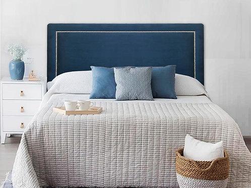 Cabeceira Estofada Reta Luxo com Tachas - Veludo Azul Marinho
