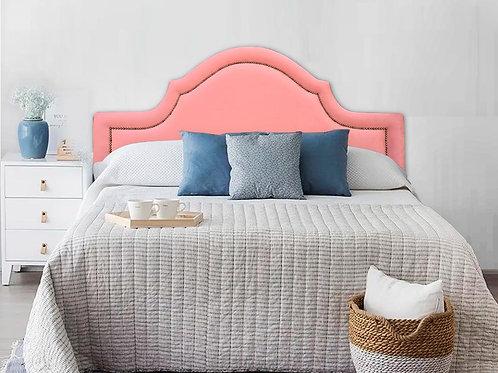 Cabeceira Estofada Provençal Luxo com Tachas - Veludo Rosa 19