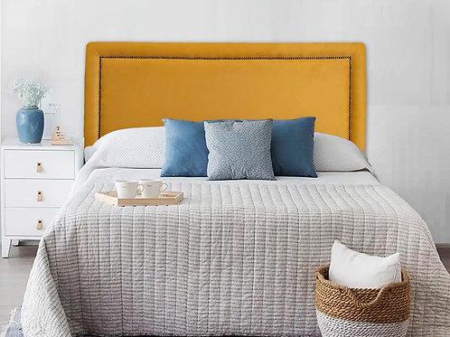 Cabeceira Estofada Reta Luxo com Tachas - Suede Amarelo