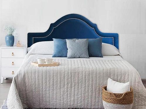 Cabeceira Estofada Provençal Luxo com Tachas - Veludo Azul Marinho