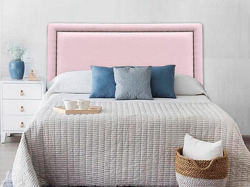 Cabeceira Estofada Reta Luxo com Tachas - Courino Rosa
