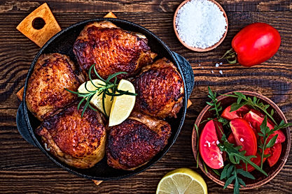 Roasted chicken and tomato salad