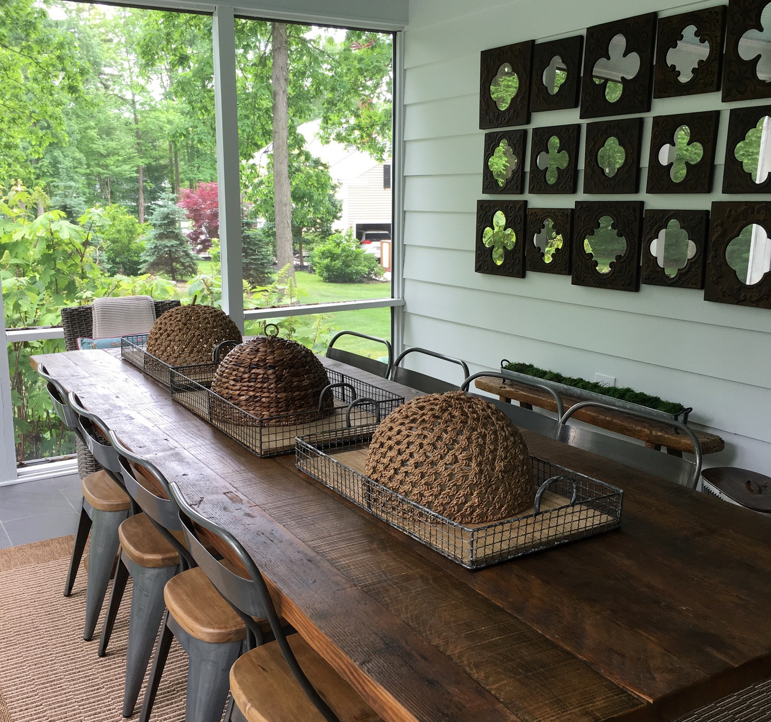 Screened In Porch With Farm Table