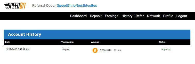 Deposit for bitcoin earning