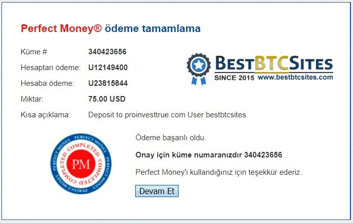 proinvesttrue.com payment details