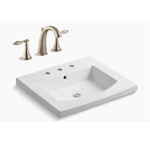 Kohler Persuade - White - Vanity-Top Sink and Kohler Finial Faucet
