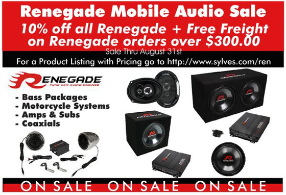 10% Off All Renegade Thru August 31st 2017.  Purchase $ 300.00 or More of Renegade and Also Get Free